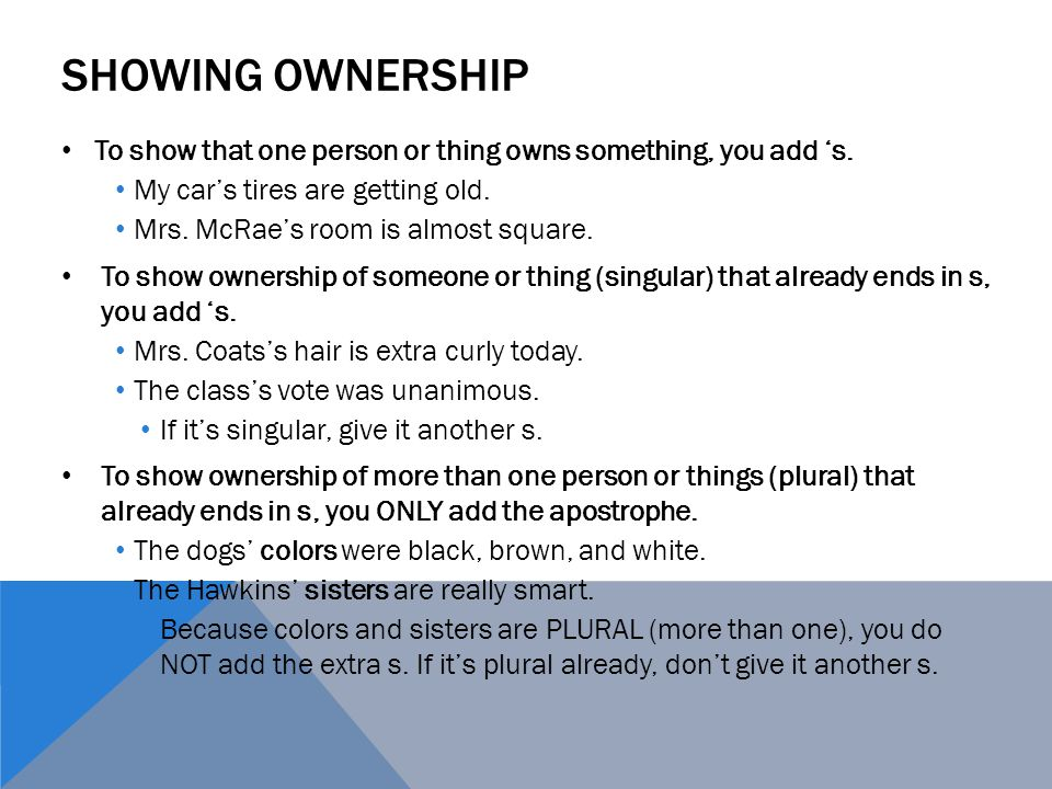 SHOWING OWNERSHIP To show that one person or thing owns something, you add 's.