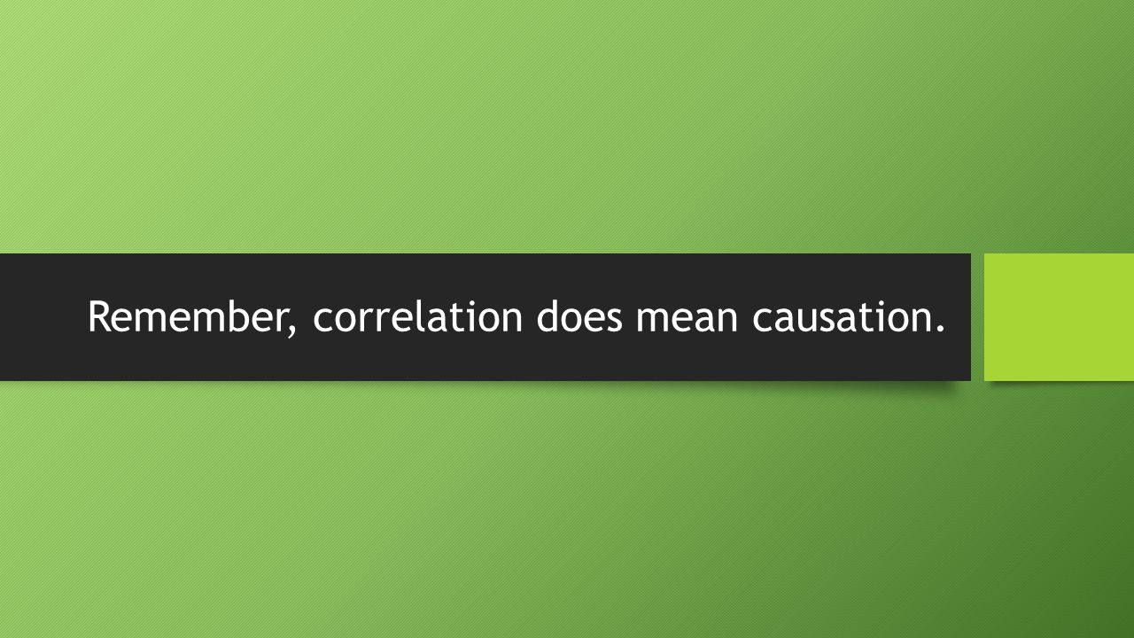 Remember, correlation does mean causation.