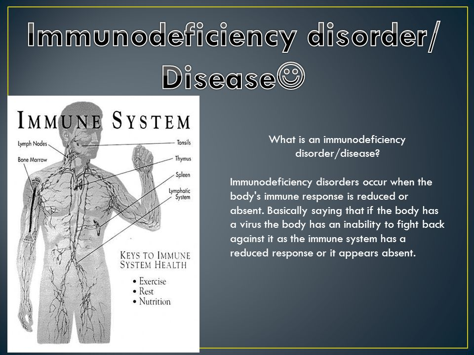 What is an immunodeficiency disorder/disease? Immunodeficiency disorders occur when the body's immune response is reduced or absent. Basically saying