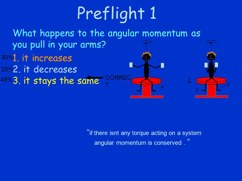 Preflight 1 What happens to the angular momentum as you pull in your arms.
