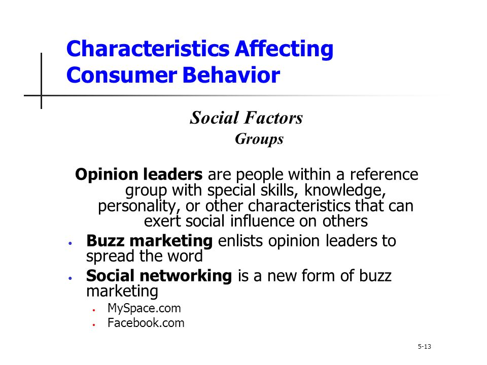 Characteristics Affecting Consumer Behavior 5-13 Social Factors Groups Opinion leaders are people within a reference group with special skills, knowle