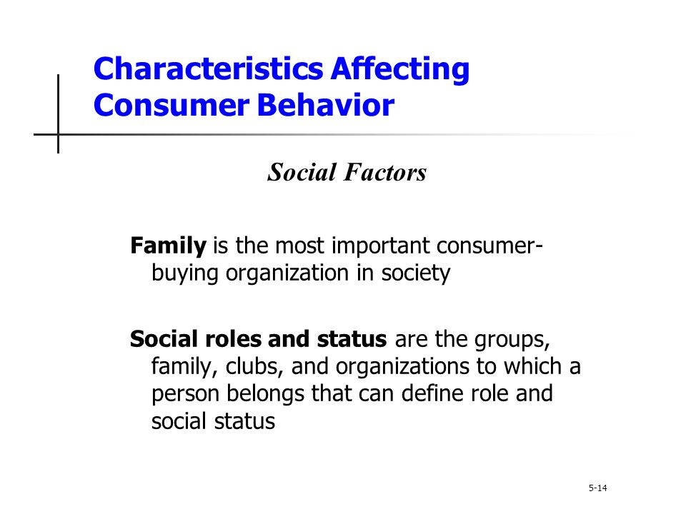 Characteristics Affecting Consumer Behavior 5-14 Social Factors Family is the most important consumer- buying organization in society Social roles and