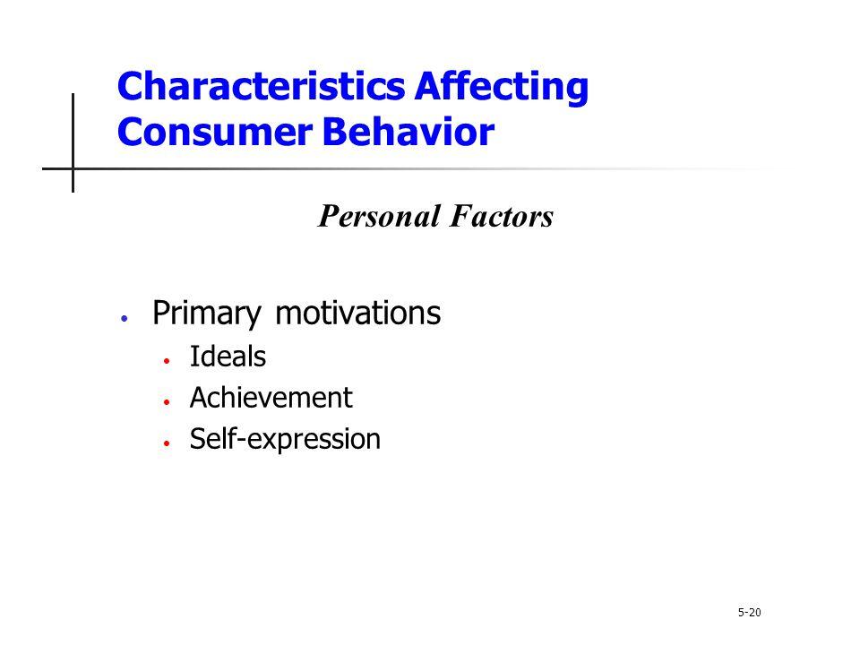 Characteristics Affecting Consumer Behavior 5-20 Personal Factors Primary motivations Ideals Achievement Self-expression