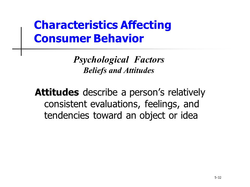 Characteristics Affecting Consumer Behavior Attitudes describe a person's relatively consistent evaluations, feelings, and tendencies toward an object