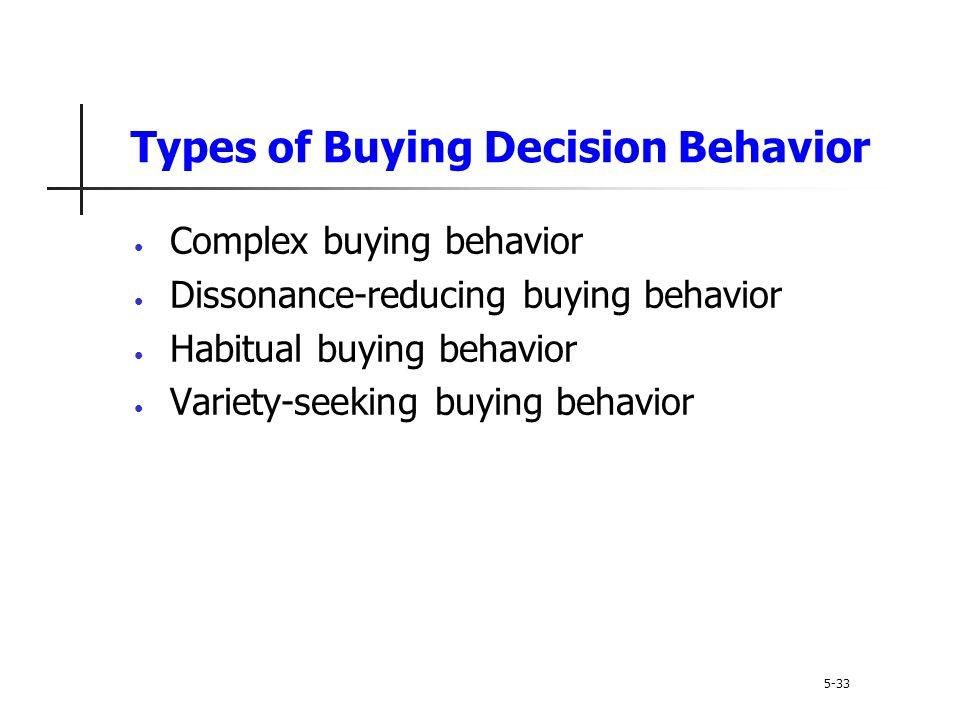 Types of Buying Decision Behavior 5-33 Complex buying behavior Dissonance-reducing buying behavior Habitual buying behavior Variety-seeking buying beh