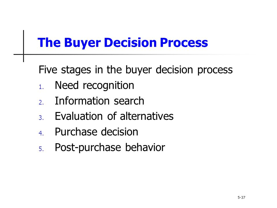 The Buyer Decision Process 5-37 Five stages in the buyer decision process 1. Need recognition 2. Information search 3. Evaluation of alternatives 4. P