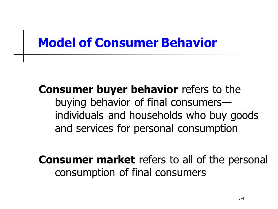 Model of Consumer Behavior 5-5 Marketing stimuli consists of the 4 Ps Product Price Place Promotion Other stimuli include: Economic forces Technological forces Political forces Cultural forces