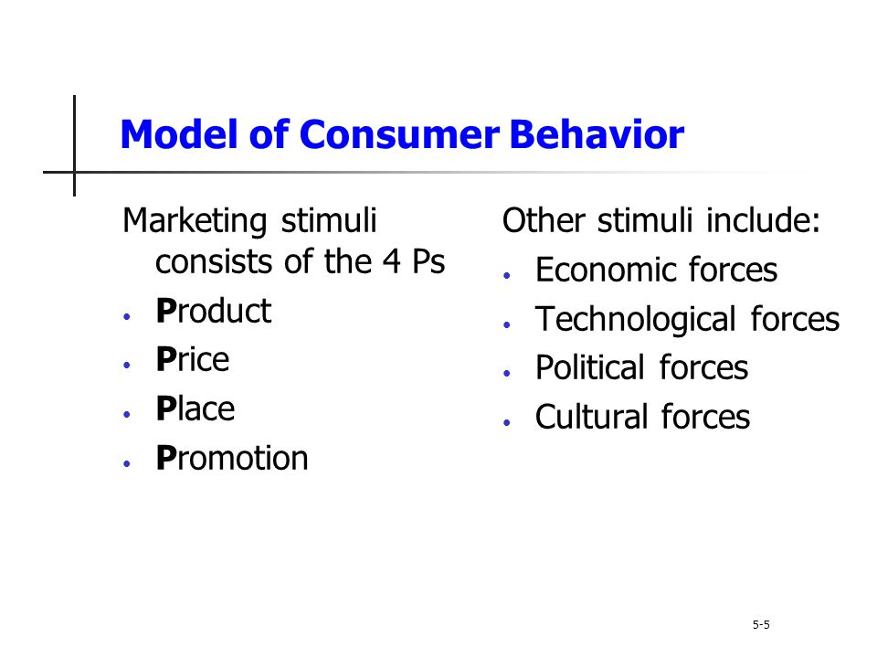 Types of Buying Decision Behavior 5-35 Dissonance-reducing buying behavior occurs when consumers are highly involved with an expensive, infrequent, or risky purchase, but see little difference among brands Post-purchase dissonance occurs when the consumer notices certain disadvantages of the product purchased or hears favorable things about a product not purchased