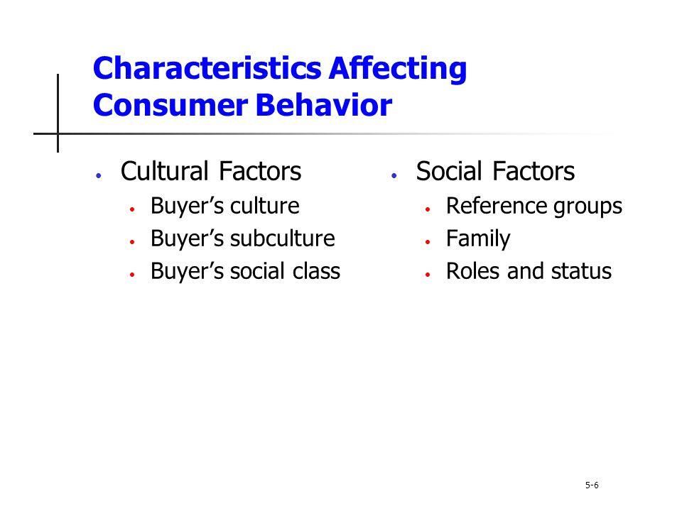 Characteristics Affecting Consumer Behavior 5-6 Cultural Factors Buyer's culture Buyer's subculture Buyer's social class Social Factors Reference grou