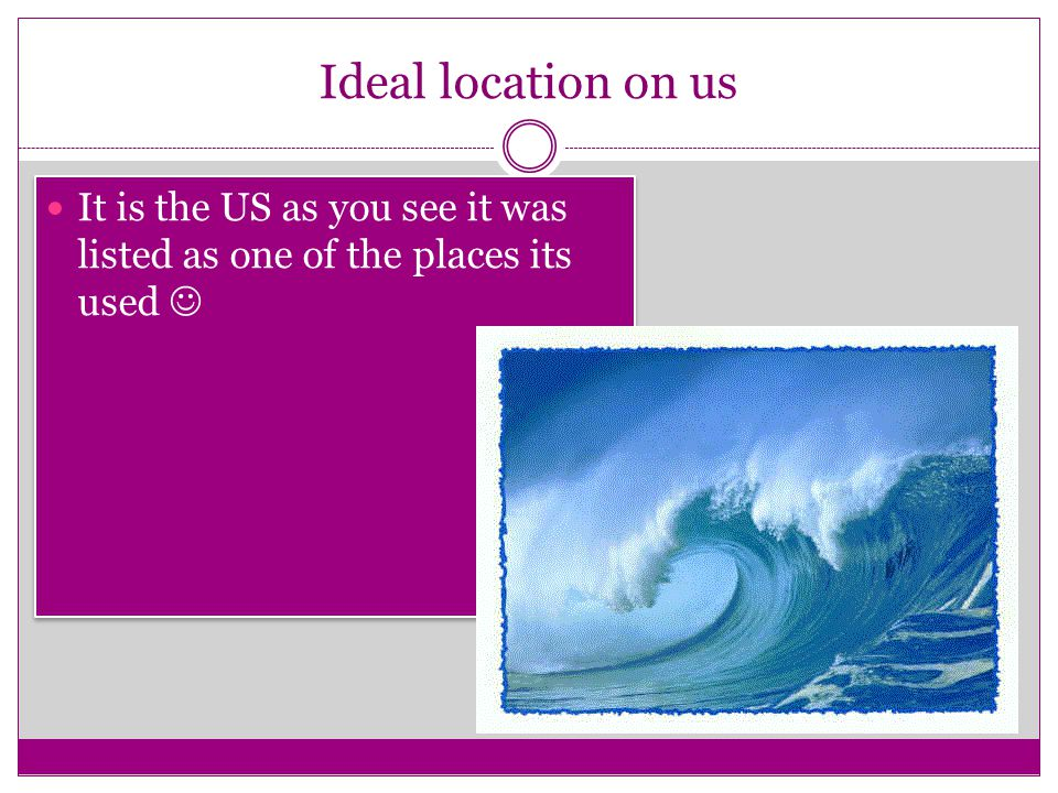 Ideal location on us It is the US as you see it was listed as one of the places its used