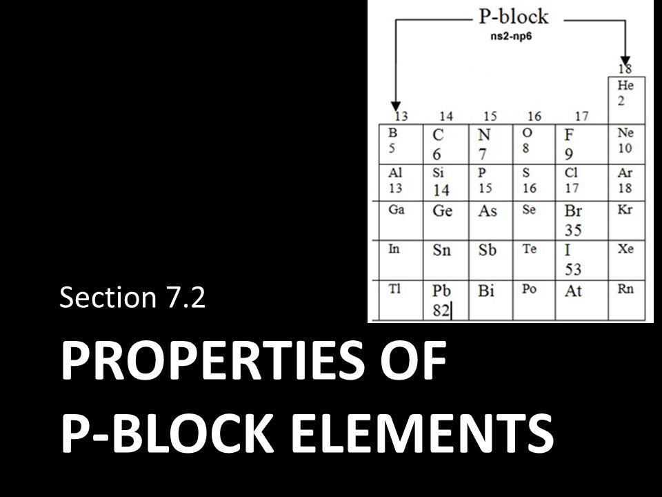 PROPERTIES OF P-BLOCK ELEMENTS Section 7.2