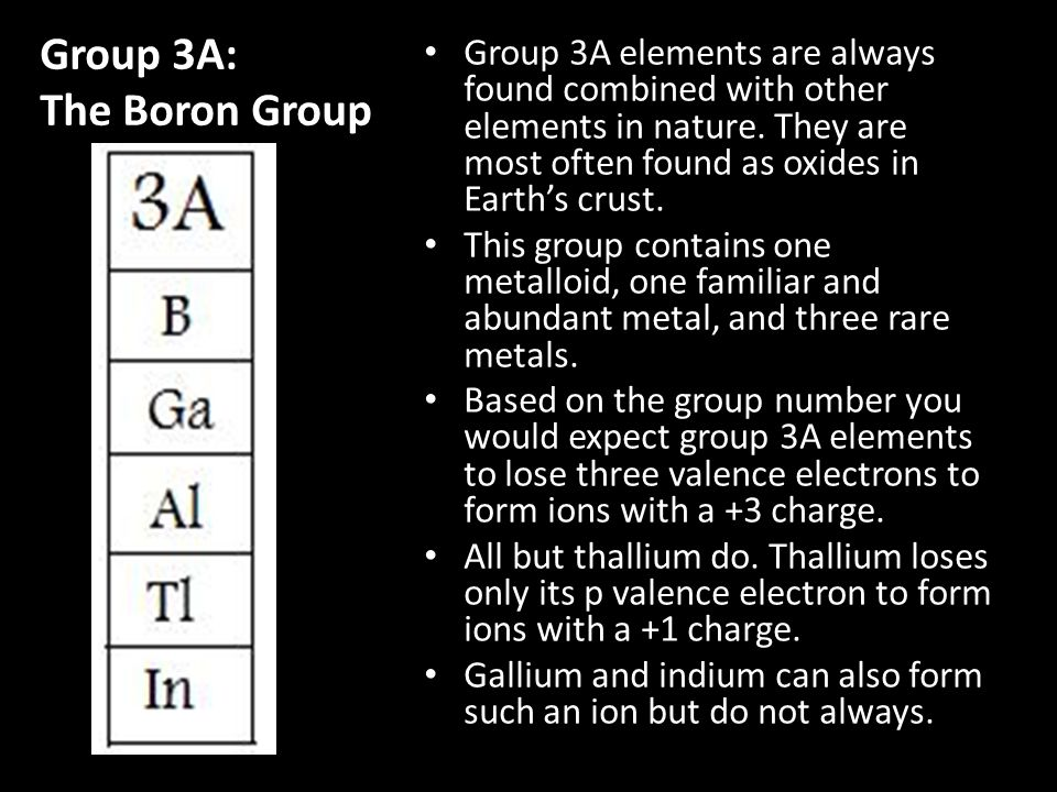 Group 3A: The Boron Group Group 3A elements are always found combined with other elements in nature. They are most often found as oxides in Earth's cr