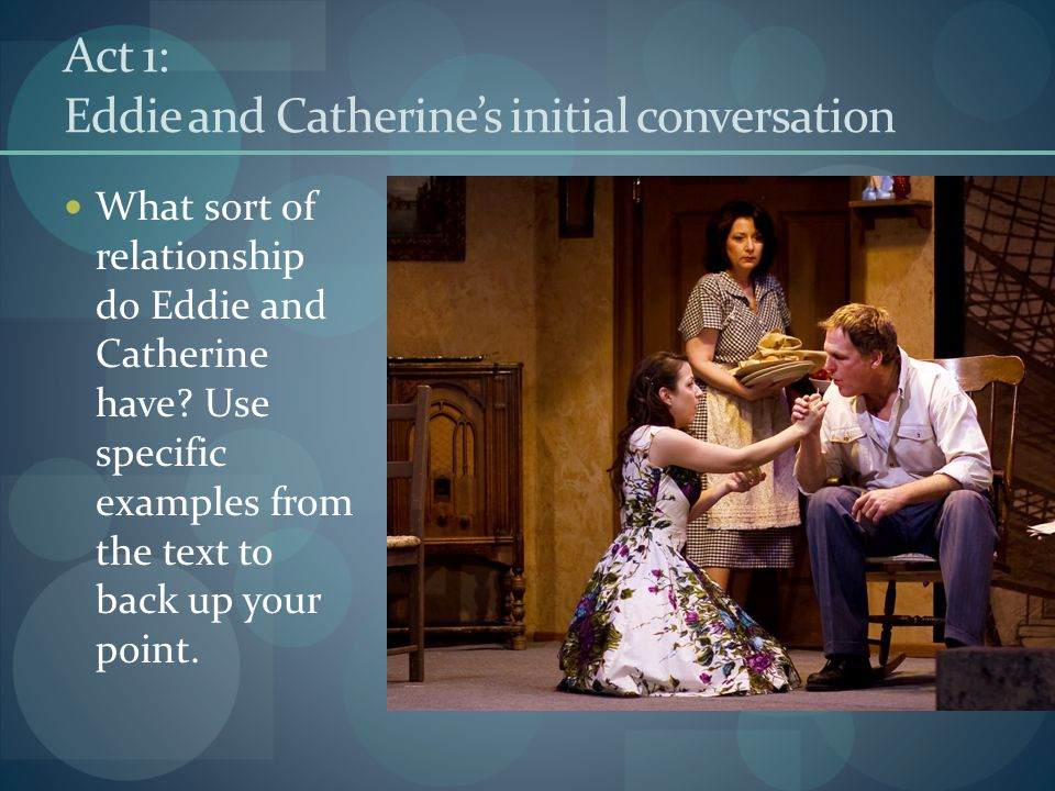 Act 1: Eddie and Catherine's initial conversation What sort of relationship do Eddie and Catherine have? Use specific examples from the text to back u