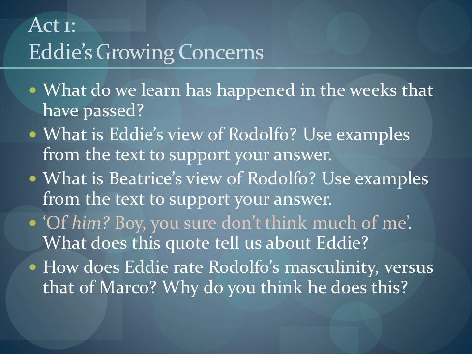 Act 1: Eddie's Growing Concerns What do we learn has happened in the weeks that have passed? What is Eddie's view of Rodolfo? Use examples from the te
