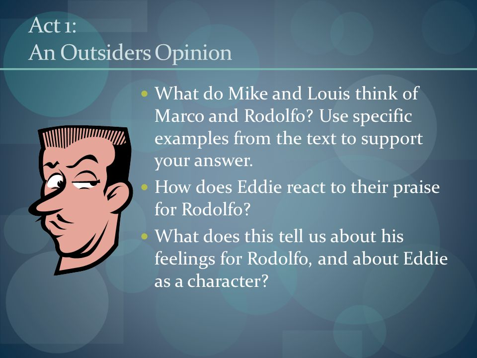 Act 1: An Outsiders Opinion What do Mike and Louis think of Marco and Rodolfo? Use specific examples from the text to support your answer. How does Ed