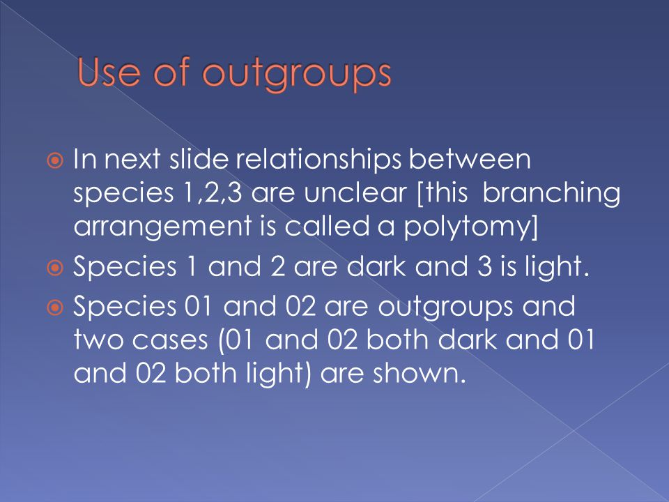  In next slide relationships between species 1,2,3 are unclear [this branching arrangement is called a polytomy]  Species 1 and 2 are dark and 3 is light.