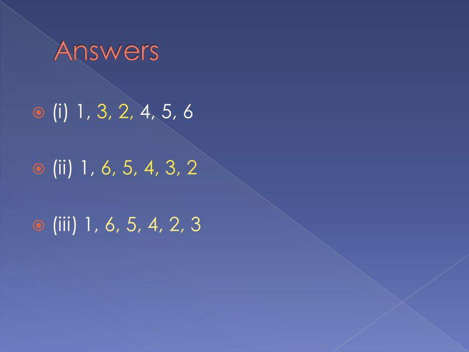  (i) 1, 3, 2, 4, 5, 6  (ii) 1, 6, 5, 4, 3, 2  (iii) 1, 6, 5, 4, 2, 3