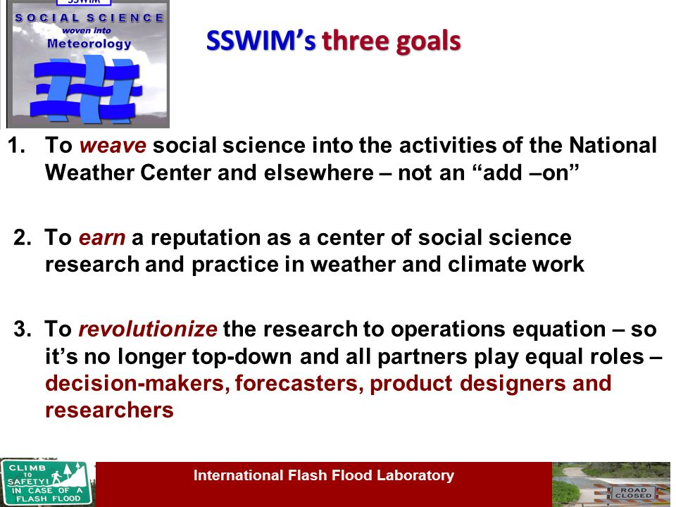 SSWIM's three goals 1.