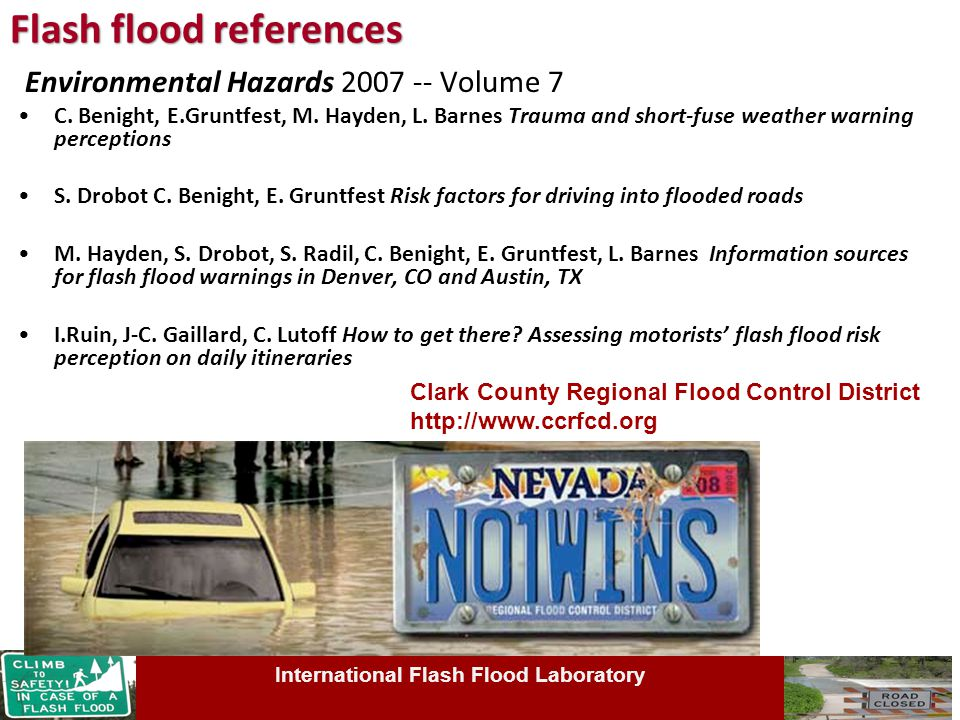 Flash flood references Environmental Hazards 2007 -- Volume 7 C.
