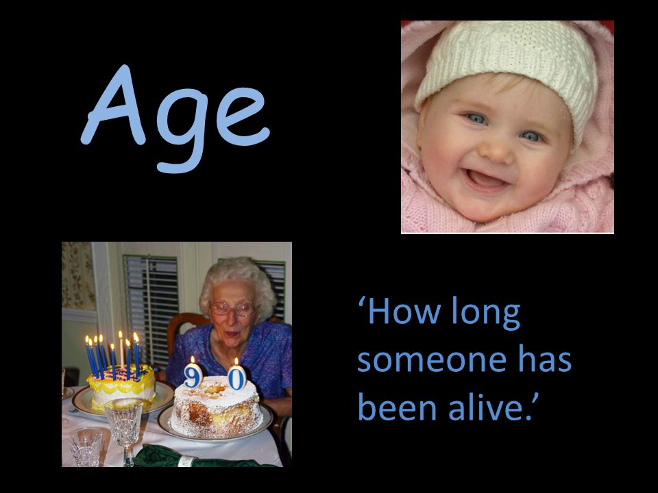 Age 'How long someone has been alive.'
