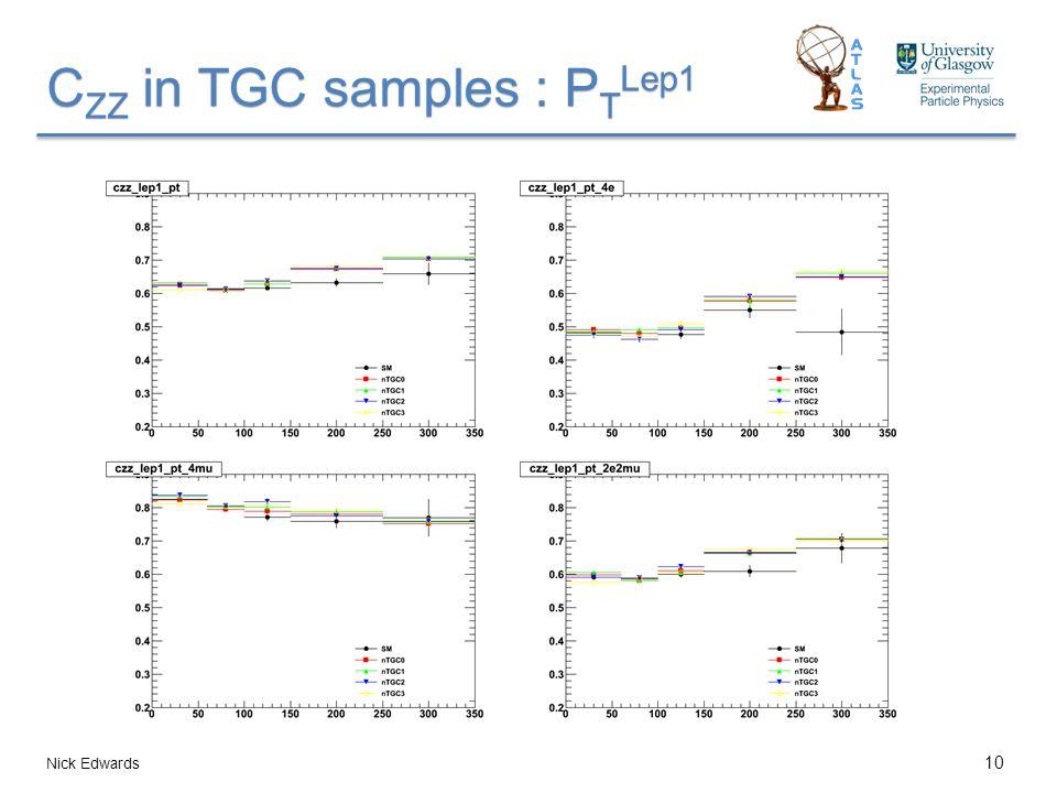 C ZZ in TGC samples : P T Lep1 Nick Edwards 10