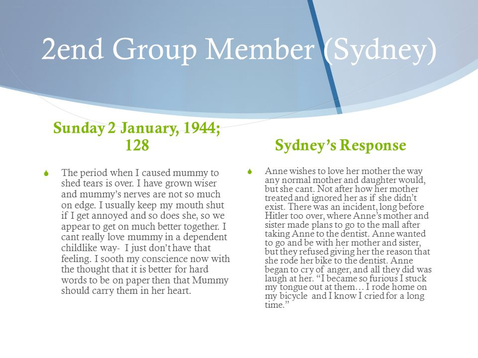 2end Group Member (Sydney) Sunday 2 January, 1944; 128  The period when I caused mummy to shed tears is over.