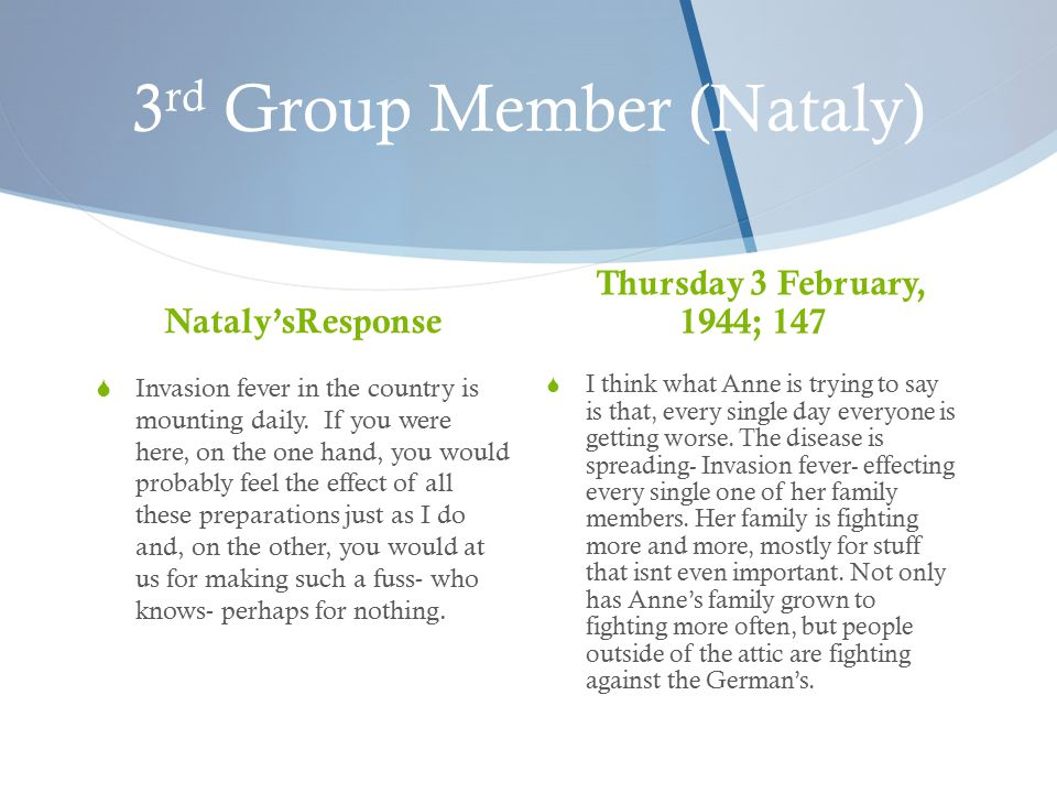 3 rd Group Member (Nataly) Nataly'sResponse  Invasion fever in the country is mounting daily.