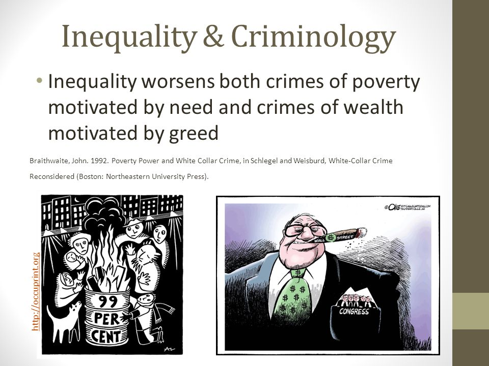 Inequality & Criminology Inequality worsens both crimes of poverty motivated by need and crimes of wealth motivated by greed Braithwaite, John.