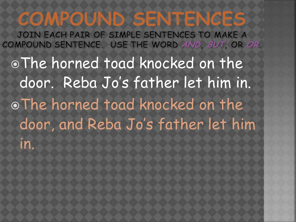  The horned toad knocked on the door. Reba Jo's father let him in.