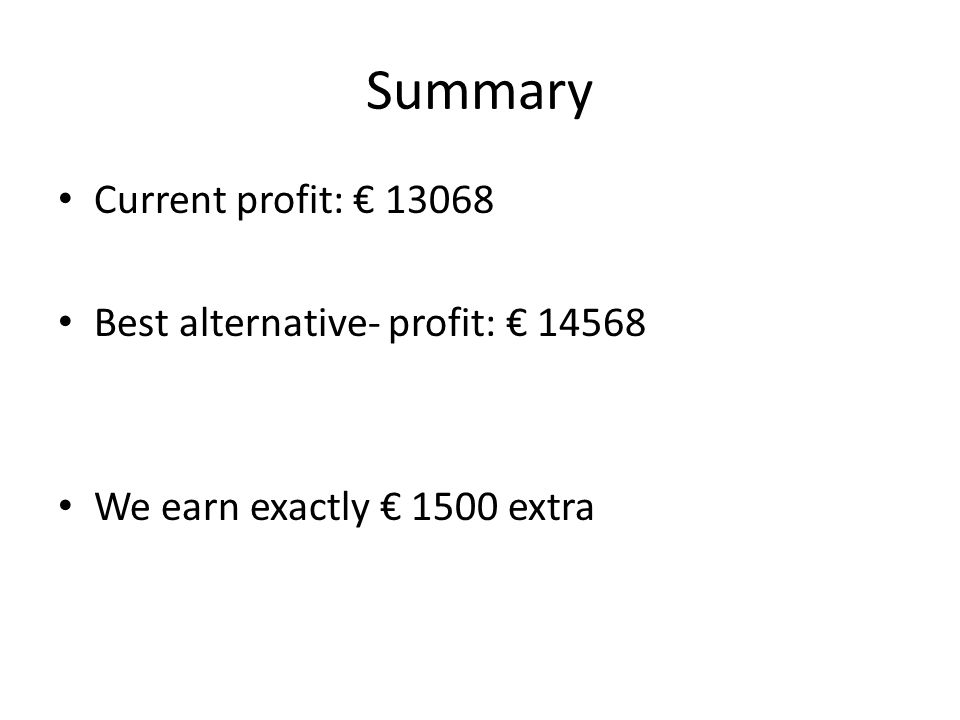 Summary Current profit: € 13068 Best alternative- profit: € 14568 We earn exactly € 1500 extra