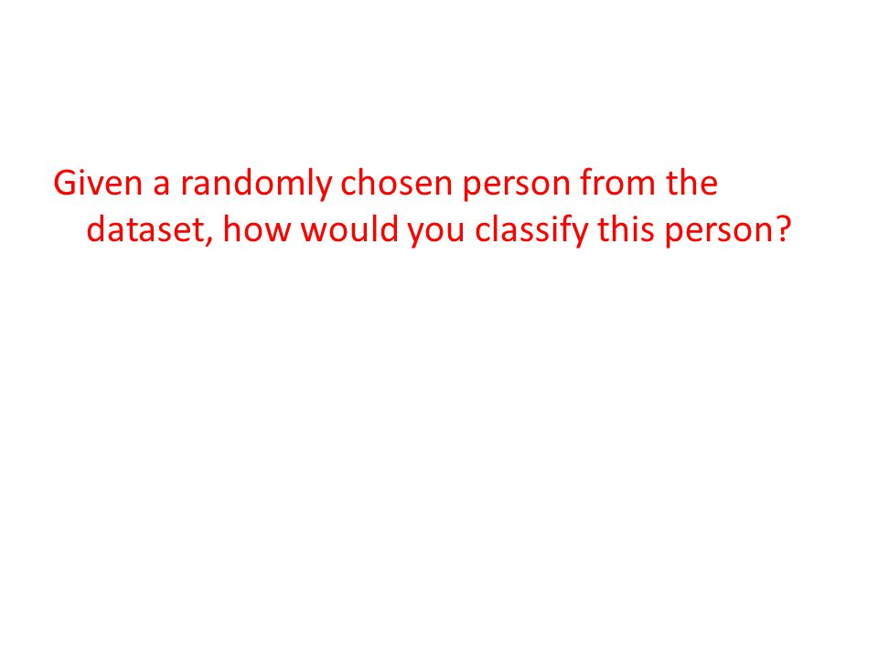 Given a randomly chosen person from the dataset, how would you classify this person?