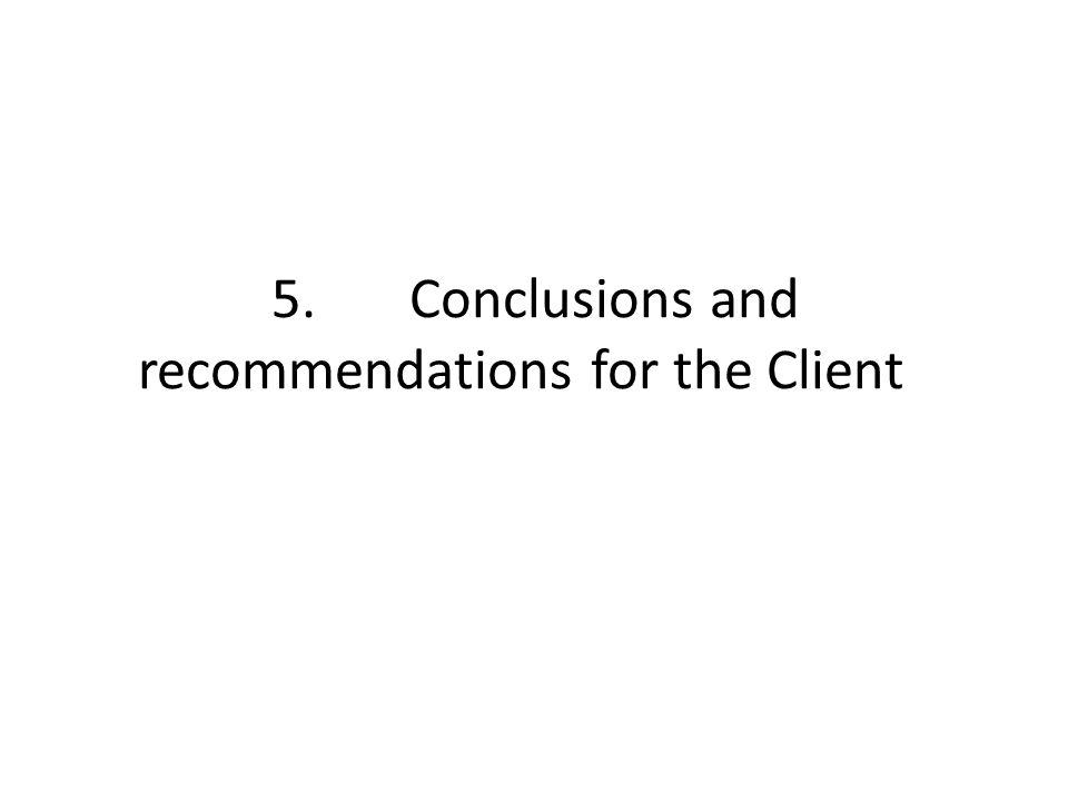 5. Conclusions and recommendations for the Client