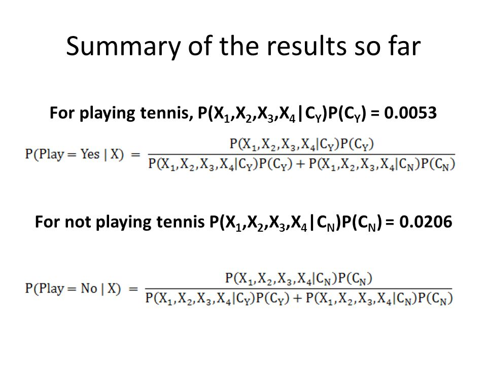 Summary of the results so far For playing tennis, P(X 1,X 2,X 3,X 4 |C Y )P(C Y ) = 0.0053 For not playing tennis P(X 1,X 2,X 3,X 4 |C N )P(C N ) = 0.