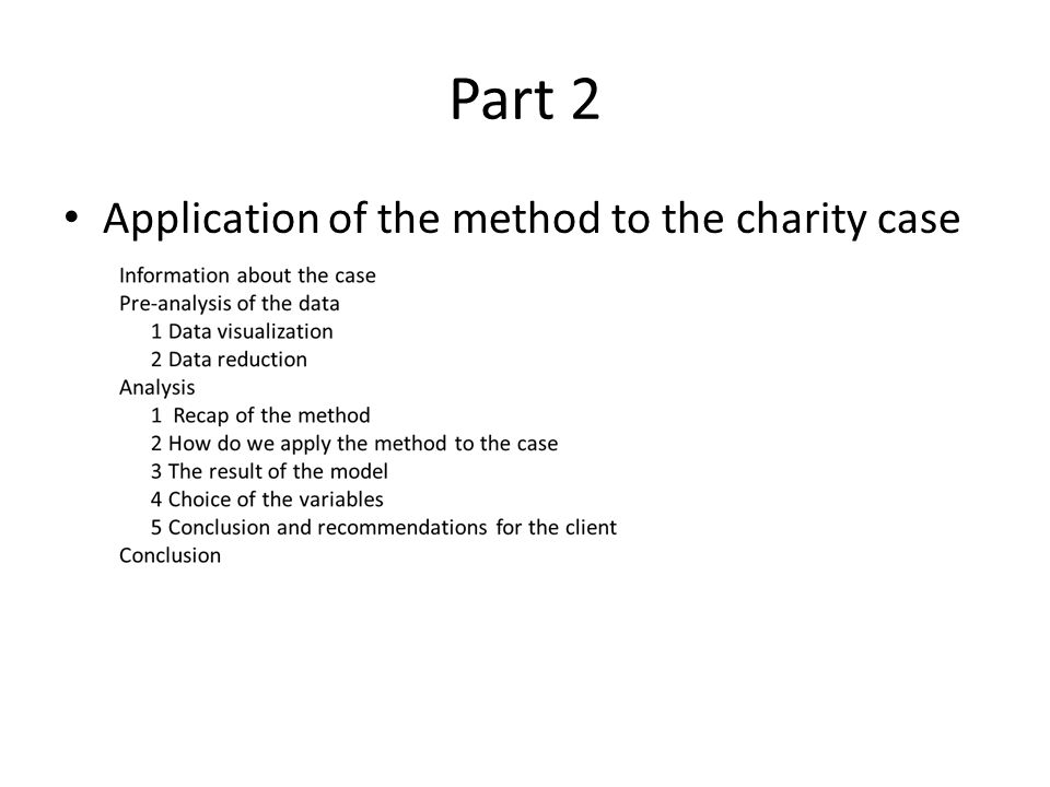 Part 2 Application of the method to the charity case