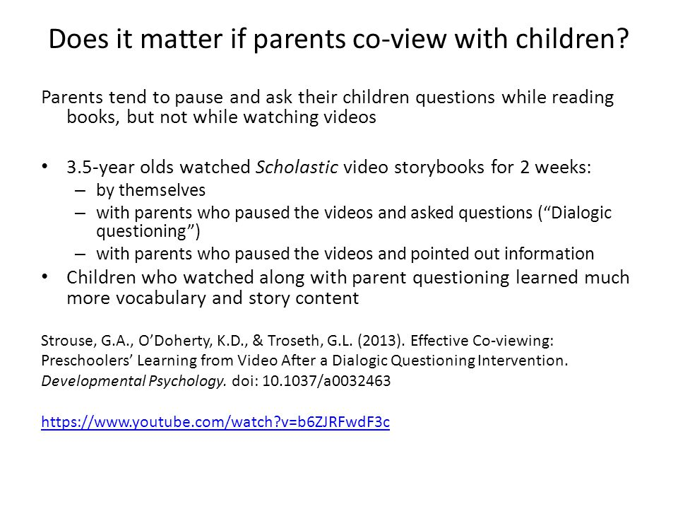 Does it matter if parents co-view with children.