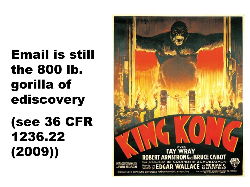 Email is still the 800 lb. gorilla of ediscovery (see 36 CFR 1236.22 (2009))