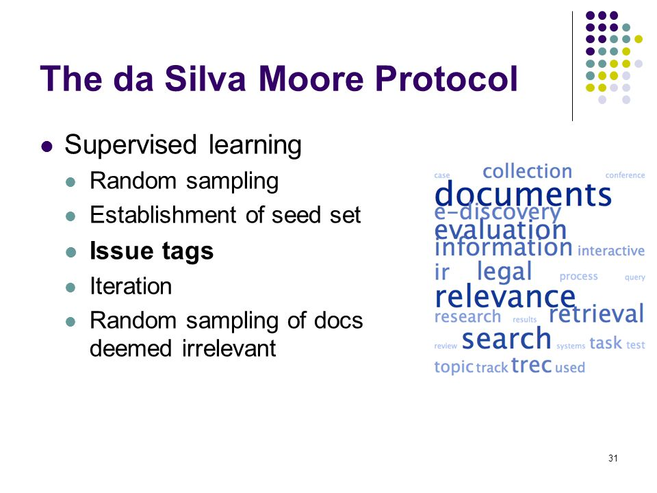 31 The da Silva Moore Protocol Supervised learning Random sampling Establishment of seed set Issue tags Iteration Random sampling of docs deemed irrelevant