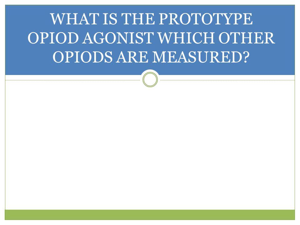 WHAT IS THE PROTOTYPE OPIOD AGONIST WHICH OTHER OPIODS ARE MEASURED?