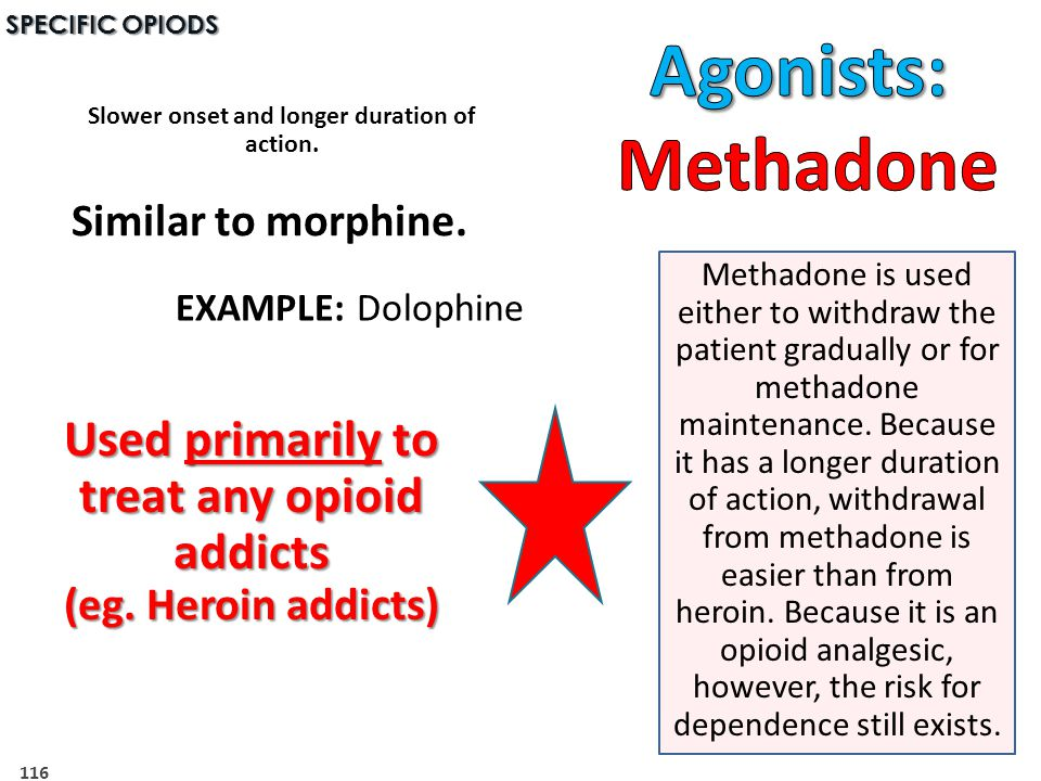 116 SPECIFIC OPIODS Methadone is used either to withdraw the patient gradually or for methadone maintenance.
