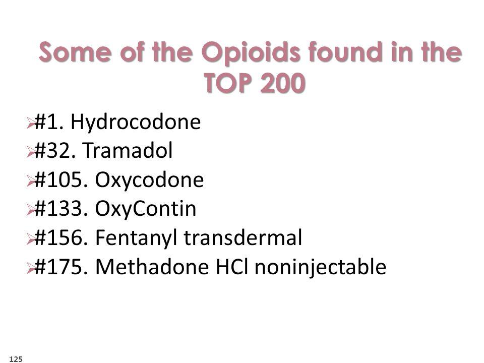  #1.Hydrocodone  #32. Tramadol  #105. Oxycodone  #133.