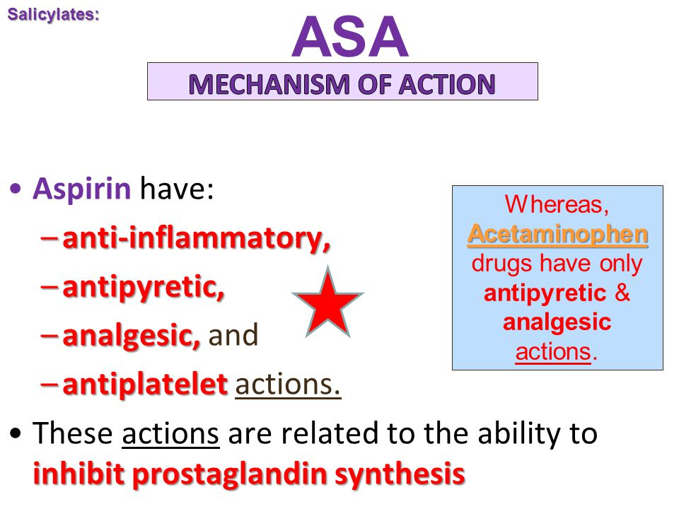 ASA Aspirin have: –anti-inflammatory, –antipyretic, –analgesic, –analgesic, and –antiplatelet –antiplatelet actions.