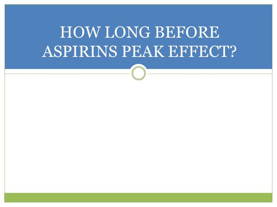 HOW LONG BEFORE ASPIRINS PEAK EFFECT?