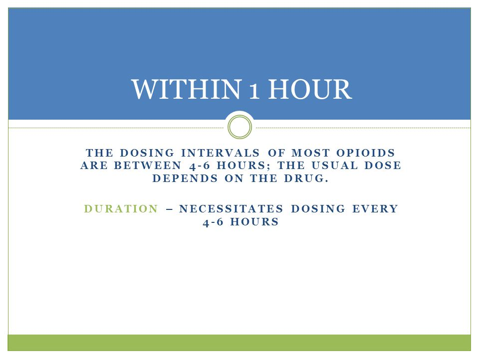 THE DOSING INTERVALS OF MOST OPIOIDS ARE BETWEEN 4-6 HOURS; THE USUAL DOSE DEPENDS ON THE DRUG.