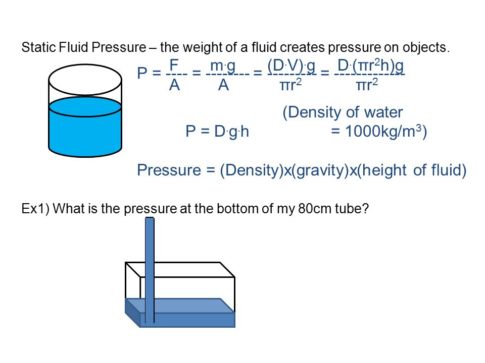 Static Fluid Pressure – the weight of a fluid creates pressure on objects. Ex1) What is the pressure at the bottom of my 80cm tube? F m. g (D. V). g D