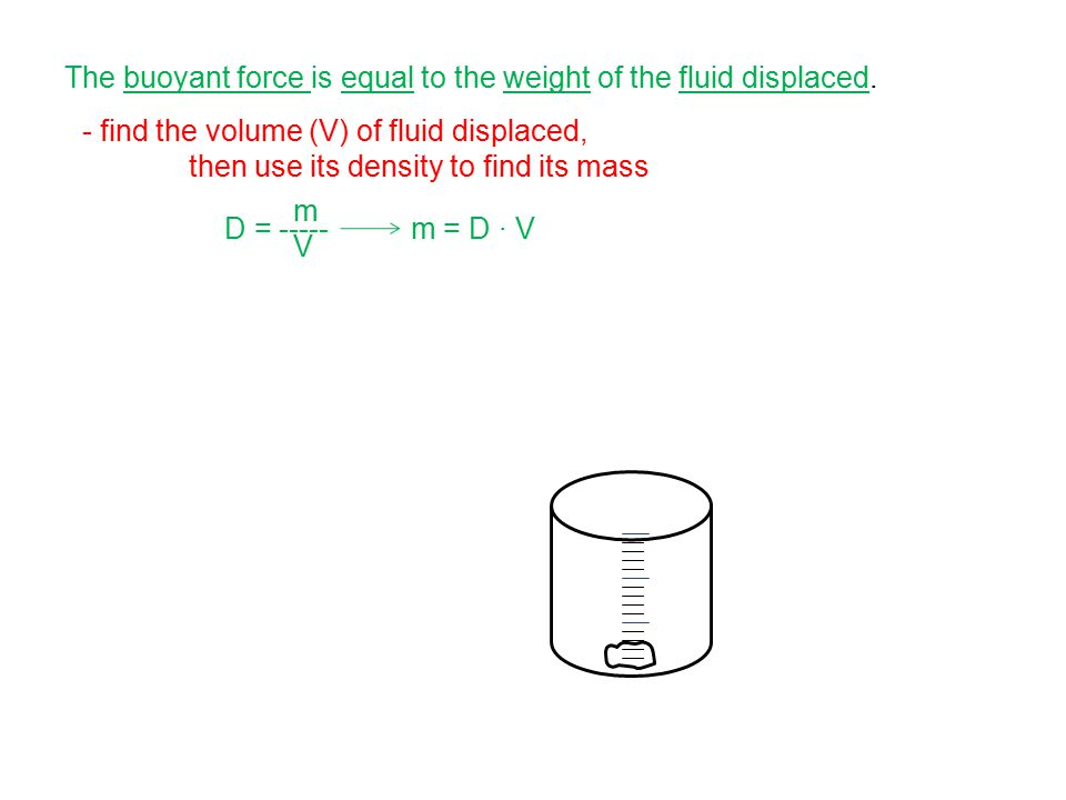 - find the volume (V) of fluid displaced, then use its density to find its mass D = ----- mVmV m = D ∙ V The buoyant force is equal to the weight of t