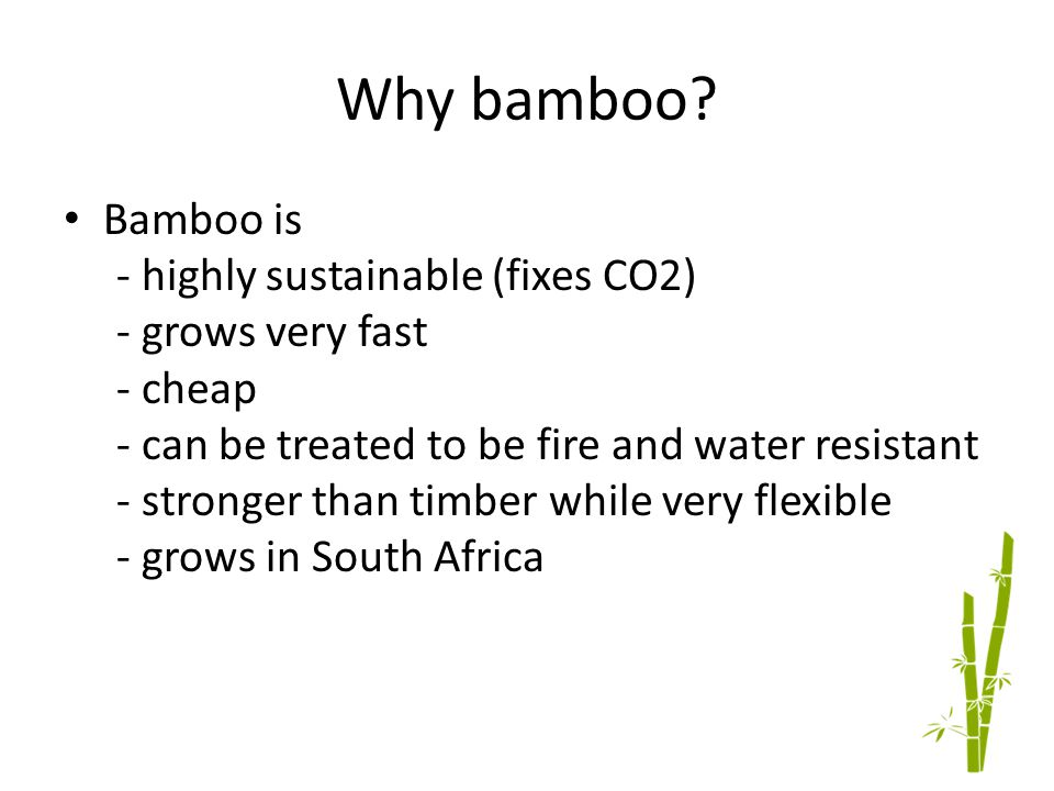 Why bamboo? Bamboo is - highly sustainable (fixes CO2) - grows very fast - cheap - can be treated to be fire and water resistant - stronger than timbe