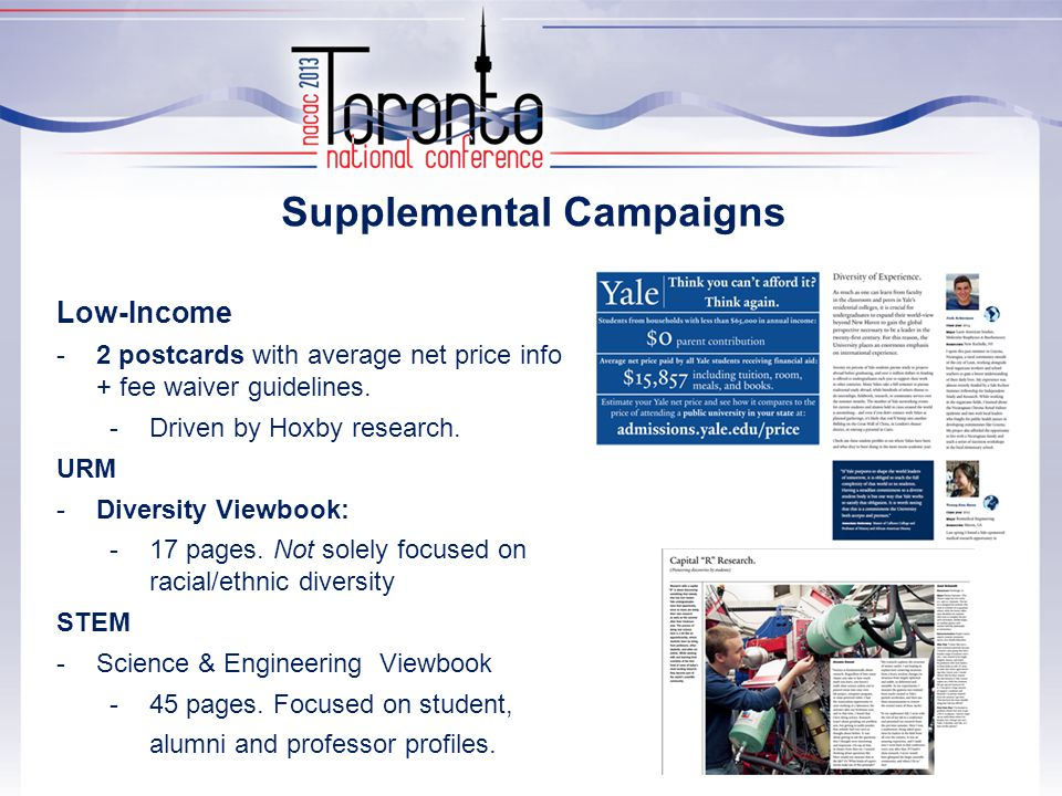 Supplemental Campaigns Low-Income -2 postcards with average net price info + fee waiver guidelines.