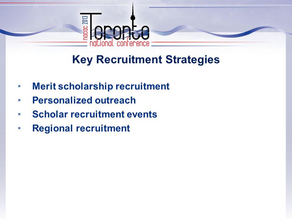 Key Recruitment Strategies Merit scholarship recruitment Personalized outreach Scholar recruitment events Regional recruitment