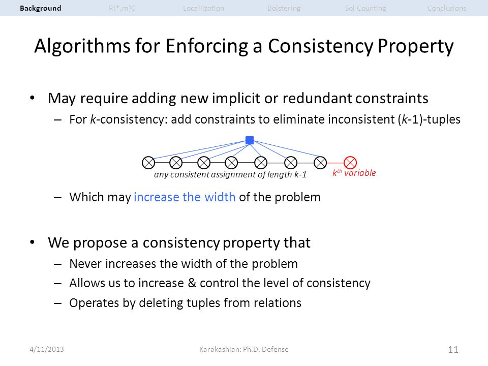 Algorithms for Enforcing a Consistency Property May require adding new implicit or redundant constraints – For k-consistency: add constraints to elimi