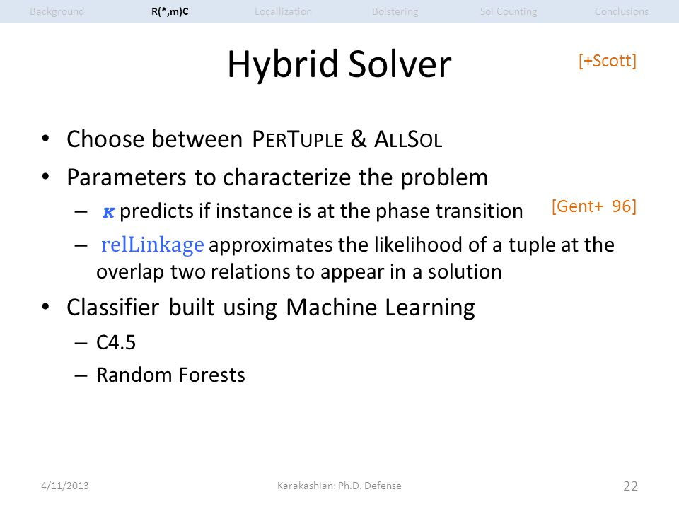 Hybrid Solver Choose between P ER T UPLE & A LL S OL Parameters to characterize the problem – κ predicts if instance is at the phase transition – relL